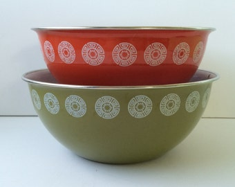 Red and Green Enamelware Bowls