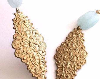 Aquamarine And Gold Dangle Earring