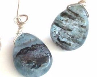 Blue Grey Kyanite Gem Drop Bead Earring