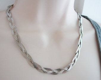 Vintage silver braided chain necklace
