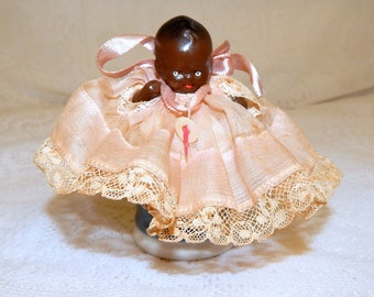 Miniature Black Baby China Doll 1930s 40s Made in Japan, Original clothes