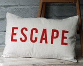 Handmade Lumbar Pillow Cover Bolster Cushion Cover Hand Painted Red Letter ESCAPE 12 x 20