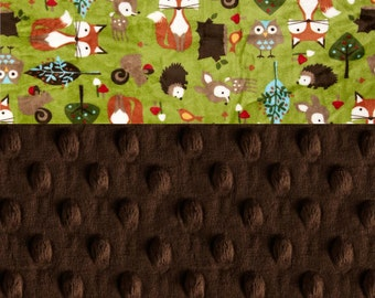 Woodland Animal Minky Blanket Boy, Green Foxes Hedgehogs Brown Personalized Baby Blanket