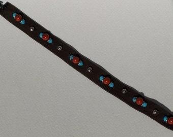 Red Jasper and Swarovski Leather Bracelet