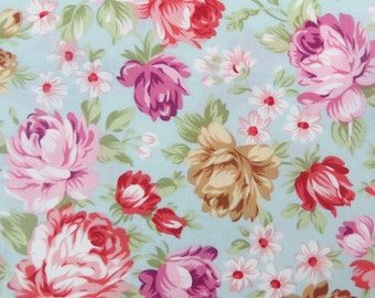 2538 - Sale - Pretty Rose Flower and Tiny Flower in Blue, Rose Blossom Fabric, Rose Flower Fabric
