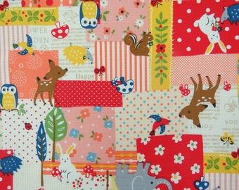 2549A - Sale - Woodland Patchwork Fabric in Red and Pink Color Combo , Elephant , Owl , Mushroom , Rabbit , Flower ,  Hedgehog , Deer , Tree
