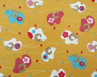 2559A - Sheep with Gold Horn Print Fabric in Golden Rod Yellow , Japanese Cotton Fabric, Kimono Fabric, Zodiac Sheep Fabric, Animal Fabric