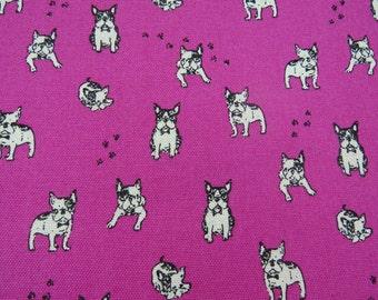 2510B - Retro Boston Terriers Bulldog with Paw Print Fabric in Fuschia, Kawaii Bulldog Fabric, Dog and Paw fabric