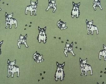 2510D - Retro Boston Terriers Bulldog with Paw Print Fabric in Olive Green , Kawaii Bulldog Fabric, Dog and Paw fabric