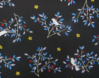 2604C - Lovely Bird in Tree Fabric in Black , Bird Fabric , Tree Fabric