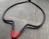 Charcoal grey and firered minimalistic geometric crochet necklace light to wear