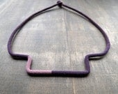 Purple and old pink minimalistic geometric crochet necklace light to wear