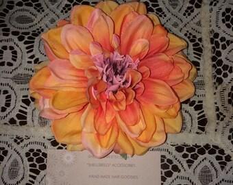 Peachy orange hair flower clip pinup