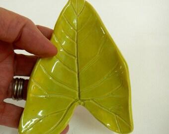 Green Leaf Spoon Rest Stoneware
