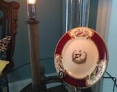 Antique Industrial Wooden Textile Stool Bobbin Edison Bulb