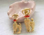 Vintage Gold Tone Poodles with Red Enamel Bows Mom and Pup