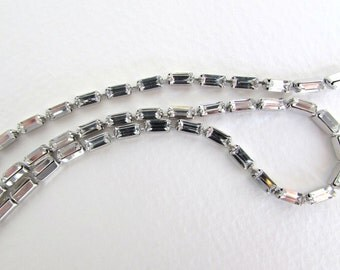 Vintage Rhinestone Cup Chain Swarovski Crystal Baguette Prong Setting Silver 5x2.5mm chn0137 (1 foot)