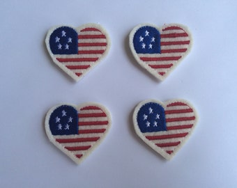 Patriotic Heart Red White Blue Embroidered Felt Applique