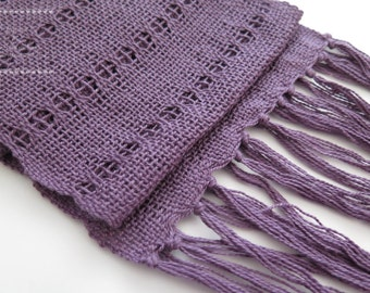 Hand Woven Purple Light Cotton Spring Summer Neck Scarf
