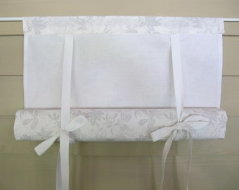 White and Gray Leaf Pattern 36 Inch Long Swedish Roll Up Shade Stage Coach Blind