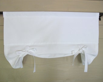 White Gaberdine Window Valance Drop Shade with Cotton Twill Tape Ties Tie Up Curtain Swag Balloon