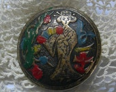 Large Antique Asian Enamel Brass Button, Geisha Button