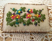 Hand Embroideredd Felt Pin with Beaded Flowers