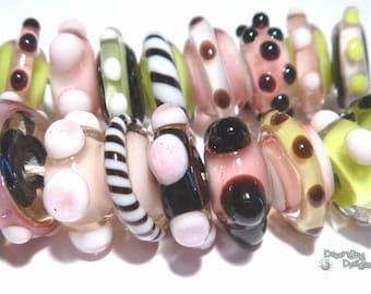 FLIRT MiniSPINS Handmade Lampwork Beads - Pink Green White Black - Organic & Pretty