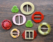 Collected - Vintage Buttons and Buckles - Celluloid - Bakelite - Green - Pink - Red - Art Deco - Supplies - Geometric - Mixed Media