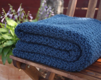 Ready to Ship  Beautiful and Luxuriously Handcrafted CROCHET Blanket Throw WINDSOR BLUE