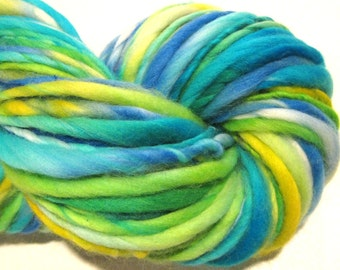 Handspun Yarn Free and easy 102 yards hand dyed merino wool green yarn blue yarn yellow yarn waldorf doll hair knitting supplies crochet