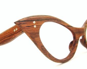 Vintage  Cat Eye Eyeglasses Frame UNIQUE Wood Grain Look NOS Small