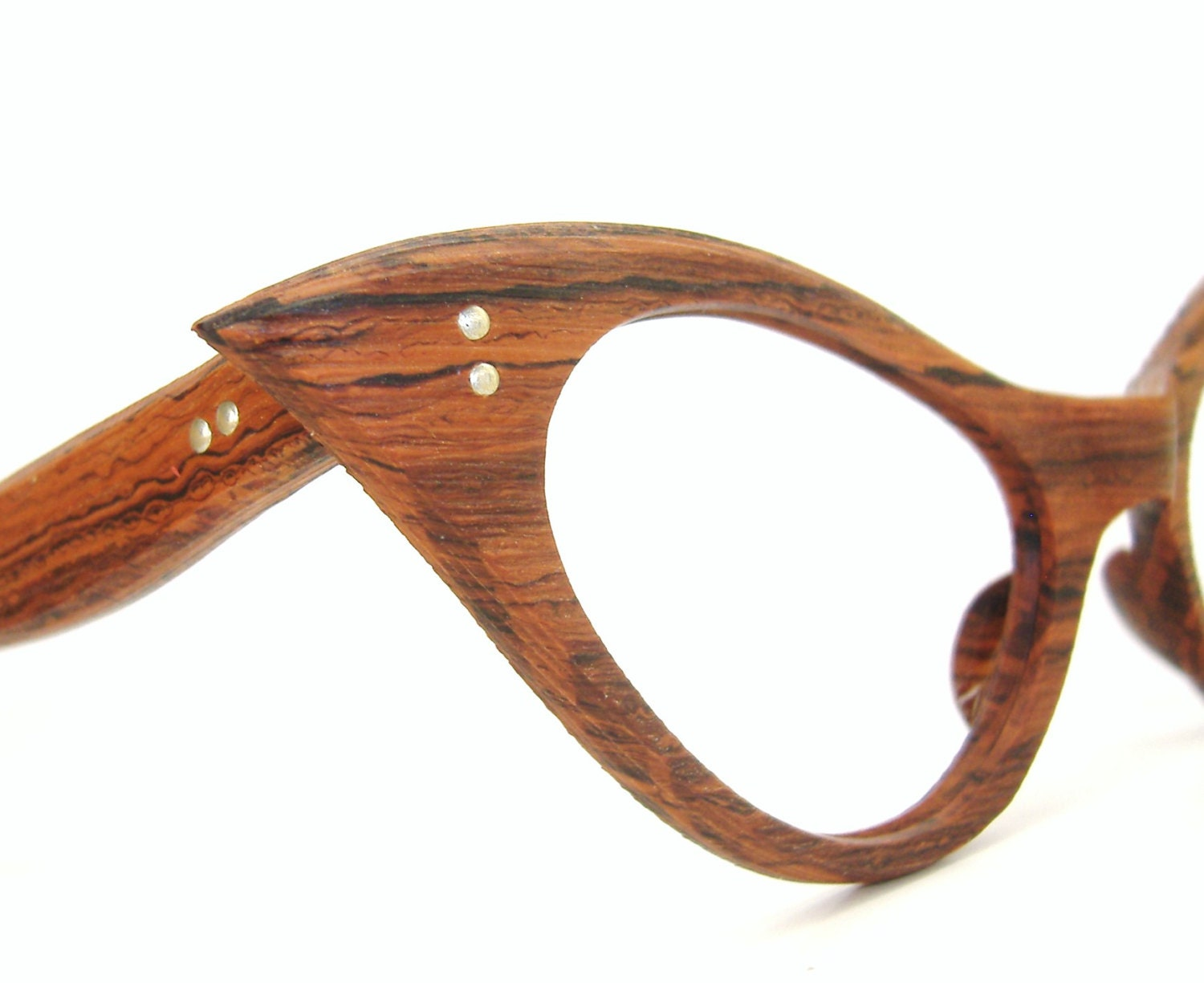 vintage cat eye eyeglasses frame unique wood grain look nos
