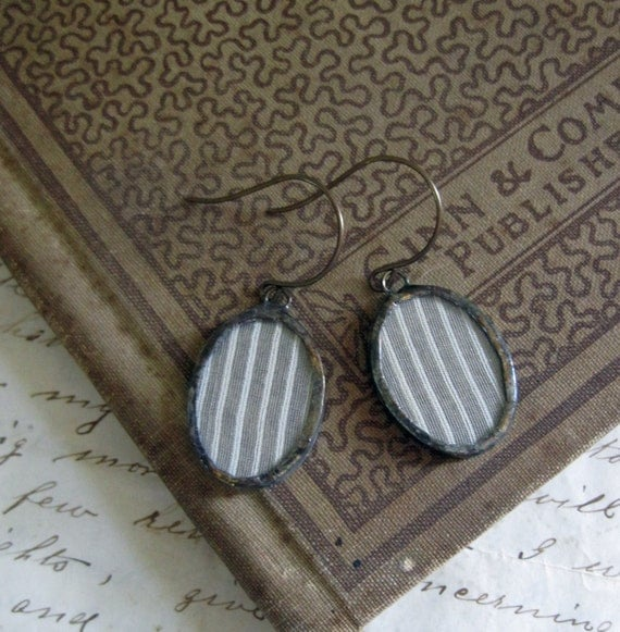 Vintage Hanky Soldered Glass Earrings One of a Kind Jewelry