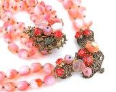 WOW Miriam Haskell Original By Robert Style Glass Necklace Bracelet Jewelry Set, Women Melo Orange White Ombre Glass Bead Necklace Bracelet
