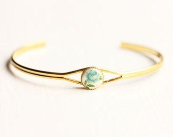 Blue Flower Bracelet, Flower Bracelet, Cabochon Bracelet, Rose Bracelet, Blue Bracelet, Small Gold Cuff, Gold Cuff, Small Cuff Bracelet