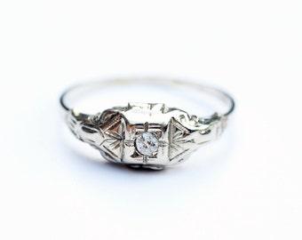 Diamond Ring Gold, White Gold Diamond Ring, Deco Diamond Ring, Delicate Diamond Ring, 1920s Diamond Ring, Size 6.75 Ring