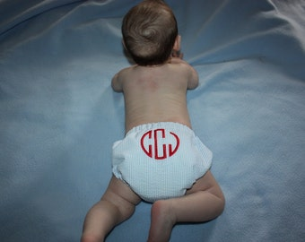 Boy Seersucker diaper cover - First birthday outfit  made to order hand made monogram initials