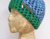 Crocheted Beanie Hat in Blue, Gray, and Bright Green Yarn with Removable Inspirational Saying Pin