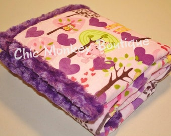 Pink and Purple Hearts on Minky Baby Blanket, Edged & Backed with Minky Swirl..Great Gift, Security, Travel, Crib, Stroller Blanket