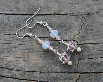 Pink Ice Crystal Earrings