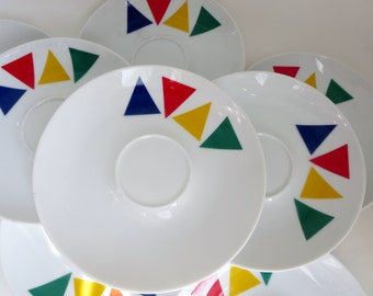 Vintage Mikasa Primary Points Saucers -  Set of Eight (8) 1980's Primary Colors K1107 Saucers - Blue, Red, Yellow & Green Triangles Saucers