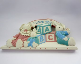 Vintage Baby Nursery ABC Blocks Wall Decor  - 1980s Homco Soft Pastels wall decor with family of bunnies