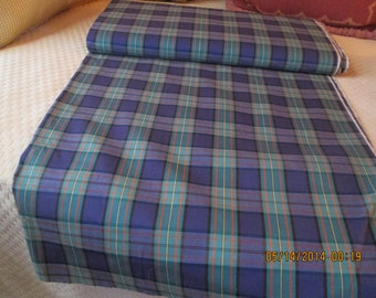 Fabric, vintage cotton plaid print, 1940's  purple, teals oranges and yellows, perfect never used