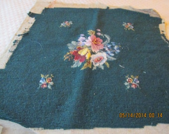 Needlepoint, hunter green floral 1940's