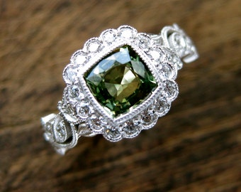Olive Green Sapphire Engagement Ring in 14K White Gold with Diamonds in Flower Buds & Leafs on Vine Size 6