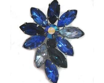 1950s Tri Color Blue Rhinestone Flower Burst Silver Tone Vintage Pin Brooch