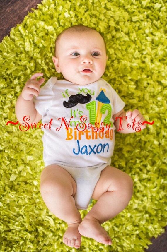 Mustache Half Birthday Baby Boy Onesie Appliqué Design