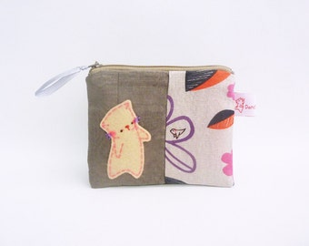 Coin Purse, Cat coin wallet, Cat mom gift, kawaii pouch, Cute Zipper Pouch, Fabric Pouch , pouch with cat, gift for mom - Gift For Her