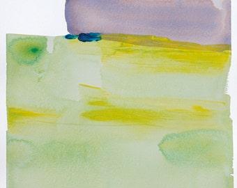 "Abstract Landscape Watercolor Art, original art,  yellow, blue, green, purple, 16 x 12"" -- ""Painting 806"" modern landscape, contemporary art"